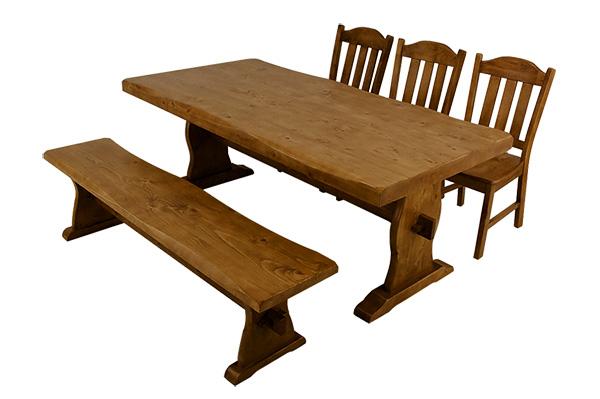 浮造り ダイニングテーブルセット 4点セット食卓 ベンチ付き テーブル 激安挑戦中 浮き造り浮き造り木製 ナチュラル ダイニング デザイナーズ 机 椅子 いす