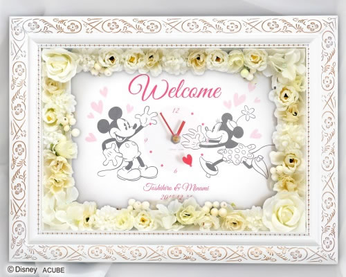【Disneyzone】ウェルカムボード(フラワー)キスユー(時計付き)【ディズニー】ウェルカムボード ウェディング