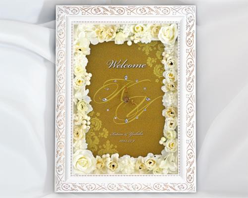 【結婚式】ウェルカムボード ウェディング(フラワー)オリエンタルG(時計付き)