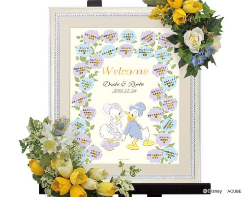 通販 ウェルカムボード ウェディング ゲストがお名前を書いたシールを貼ることで想いがこもった記念の1枚に仕上がる特別なウェルカムボードです ふたりの門出をお祝いのお花が彩ります Disney ウェディングツリー お得 ブライダル ウエディング フラワー ディズニーのウェルカムボード M デイジー ※10名~35名用 ドナルド
