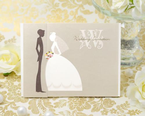 海外限定 かわいいシルエットで描かれたおふたり 彩りあざやかなブーケがアクセントになっている招待状です 招待状 手作りセット セール ウエディング 結婚式 チェリッシュ ブライダル ウェディング 手作りキット Invitation bridal