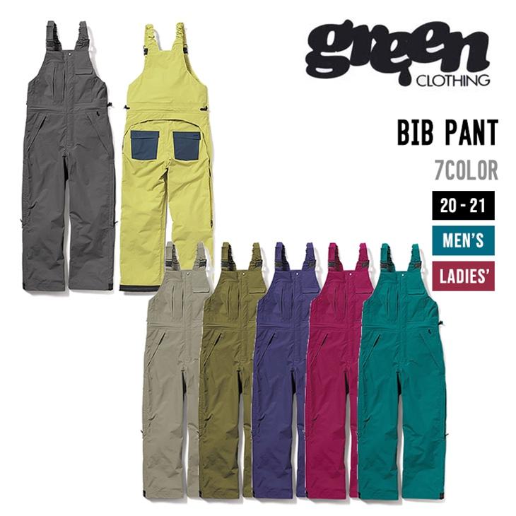 GREEN CLOTHING グリーンクロージング 20-21 BIB PANT ビブ パンツ ウエア 【早期予約】【送料無料 北海道 沖縄は除く】【4大特典付き】 スノーボード SNOWBOARD