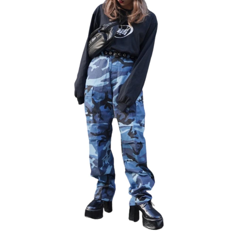 Camouflage Cargo Pants(blue) レディース メンズ ユニセックス カモフラージュ柄 迷彩柄 ブルー 青 パンツ ボトムス カーゴパンツ ポケット ミリタリーパンツ ワイド ゆったり ロング