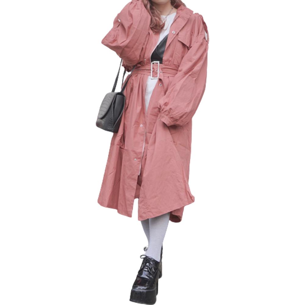 Balloon Sleeve Military Long Jacket Coat (pink)*with Belt レディース アウター コート ジャケット 羽織り ピンク ロングコート バルーンスリーブ お洒落 おしゃれ 長袖 ロングスリーブ ストリートファッション 韓国ファッション 洋服 ブランド A.D.G