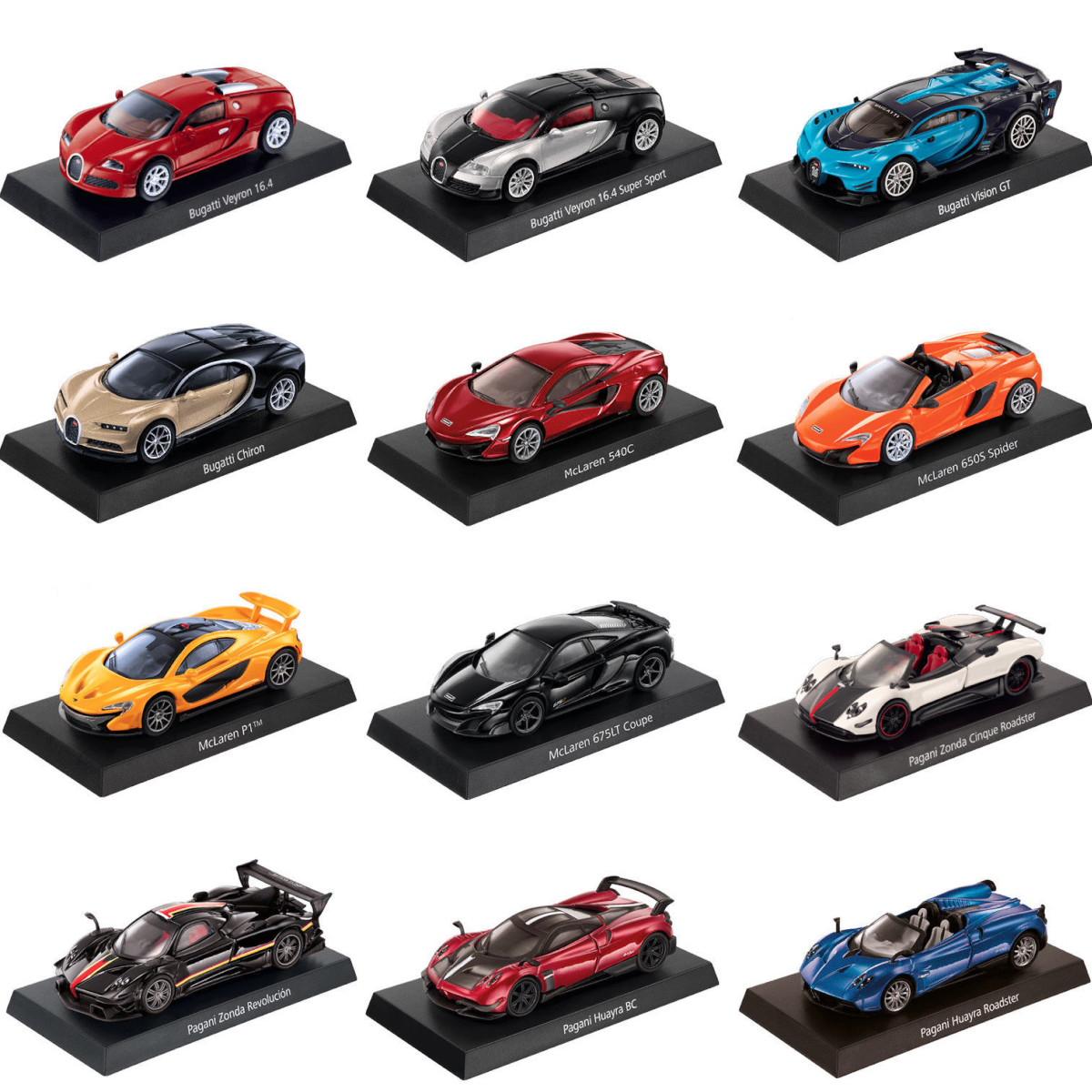 GRANI&PARTNERS 1/64 12台セットブガッティ ヴィジョン / マクラーレン / パガーニ ハイパーカーコレクション 台湾セブンイレブン限定 2018 京商・トミカサイズ Bugatti / McLaren / Pagani