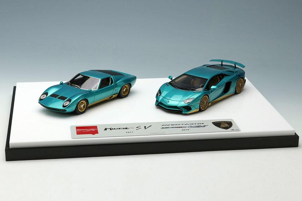 Makeup 1/43 ランボルギーニ スーパーヴェローチェセット メタリック ターコイズグリーン/ゴールド Lamborghini Super Veloce set aventador SV and Miura SV Metallic Turquoise green / Gold
