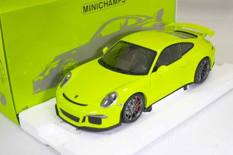 ミニチャンプス 1/18 ポルシェ 911 GT3 (991) 2013 Acid Green 299台限定 フル開閉