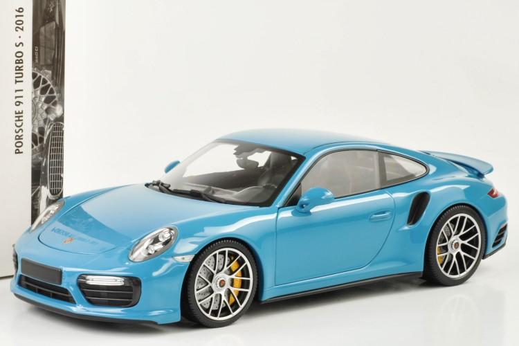 ミニチャンプス 1/18 ポルシェ 911 ターボ S (991-2) 2016 マイアミブルー miami blue 222台限定 フル開閉 Porsche 911 (991) Turbo S