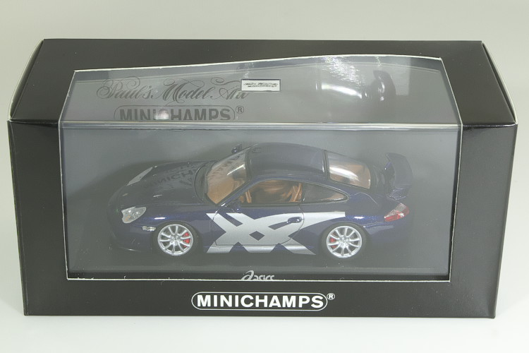 <中古品>ミニチャンプス 1/43 ポルシェ アシックス911 (996) GT3 2003 ブルー 150台限定 asics