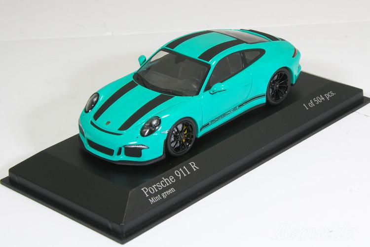 ミニチャンプス 特注 1/43 ポルシェ 911R (991) 2016 グリーン (Mint Green) / ブラックストライプ 504台限定
