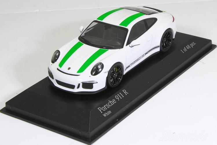 ミニチャンプス 特注 1/43 ポルシェ 911R (991) 2016 ホワイト (White) / グリーンストライプ 48台限定