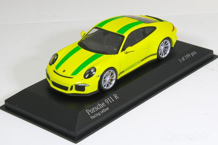 ミニチャンプス 特注 1/43 ポルシェ 911R (991) 2016 イエロー (Racing Yellw) / グリーンストライプ 199台限定