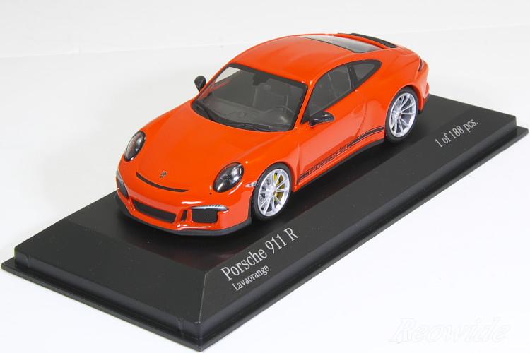 ミニチャンプス 特注 1/43 ポルシェ 911R (991) 2016 ラバオレンジ (Lavaorange) / ストライプなし 188台限定