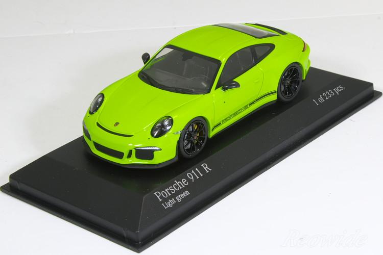 ミニチャンプス 特注 1/43 ポルシェ 911R (991) 2016 ライトグリーン (Light Green) / ストライプなし 233台限定