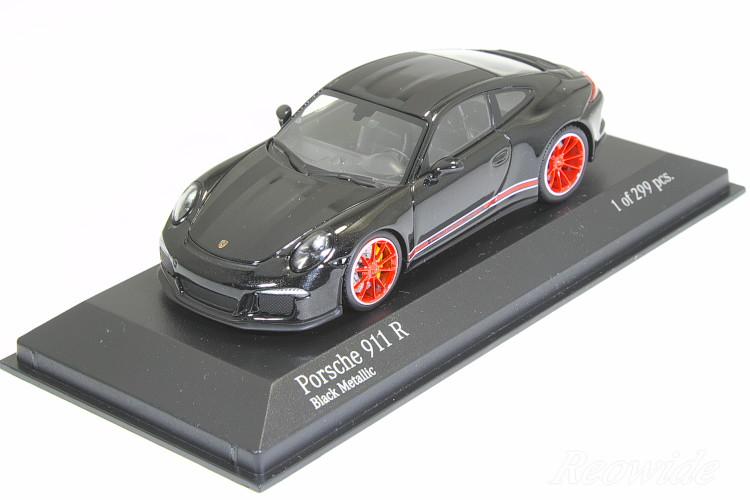 ミニチャンプス 特注 1/43 ポルシェ 911R (991) 2016 ブラックメタリック (Black Metallic) / ブラックストライプ 299台限定