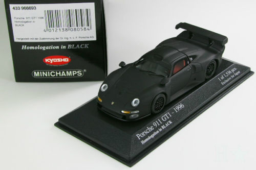 中古品 ミニチャンプス 京商 1 43 ポルシェ 911 Homologation in GT1 超歓迎された 1996 Black Porsche 格安SALEスタート Minichamps