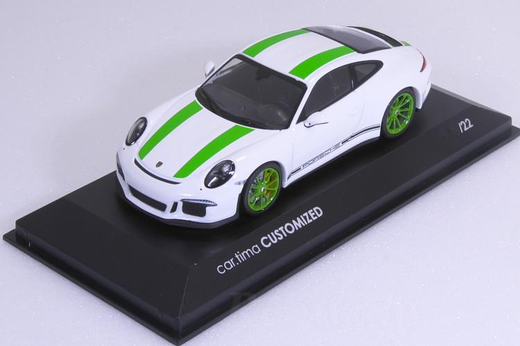ミニチャンプス 特注 1/43 ポルシェ 911R (991) 2016 ホワイト (White) / グリーンストライプ 22台限定