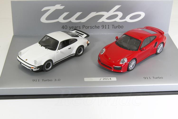 ミニチャンプス 1/43 40周年記念 ポルシェ 911 ターボ 2台セット 911 turbo 3.0 930 1974 / 911 991 turbo 2014