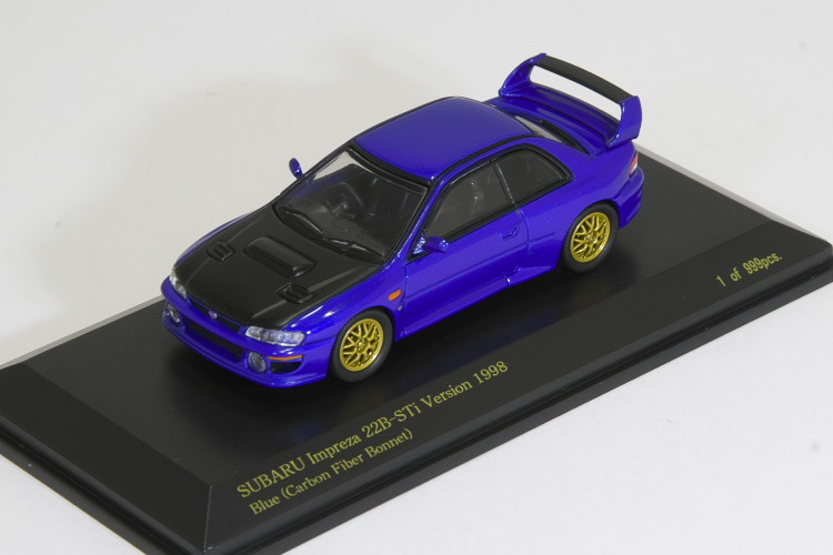 カリスマ 1/64 スバル インップレッサ 22B STI 1998 ブルー カーボンボンネット 999台限定 CARNEL SUBARU IMPREZA 22B-STi version Blue carbon Fiber Bonnet