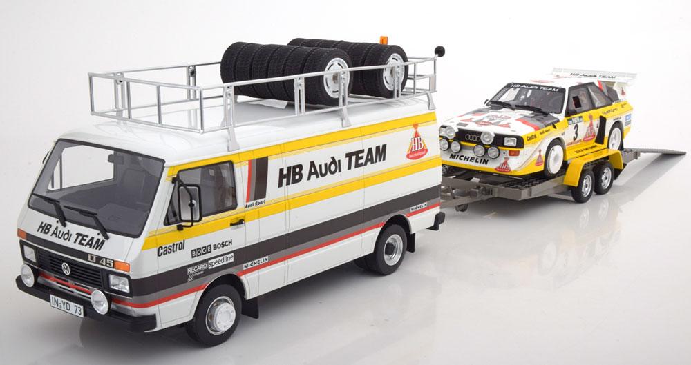 オットーモービル 1 18 フォルクスワーゲン アウディ 3モデルセット VW LT45 クワトロS1 ご予約品 トレーラー Audi Set mit 3 Modellen Geistdoerfer pcs S1 Röhrl Rally 1985 Limited trailer Portugal Edition 3000 LT and 選択 HB