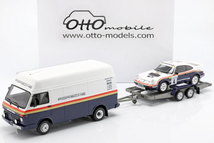 オットーモービル 1/18 ポルシェ Rally Set mit 3 Modellen ポルシェ 911 SCRS VW LT35 トレーラー1984 ロスマンズ Decals Porsche Trailer Rothmans - with Decals Toivonen/Grindrod Winner Rally des 1000 Pistes Ltd 3000 pcs