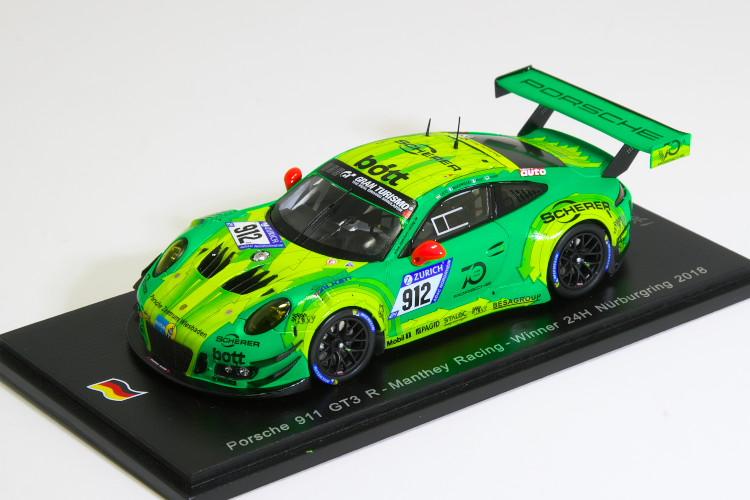スパーク 特注 1/43 ポルシェ 911 (991) GT3R #912 2018 マンタイレーシング 優勝 ニュルブルクリンク 24時間 1500台限定 Porsche 911 GT3R Manthey Racing Winner 24h Nurburgring