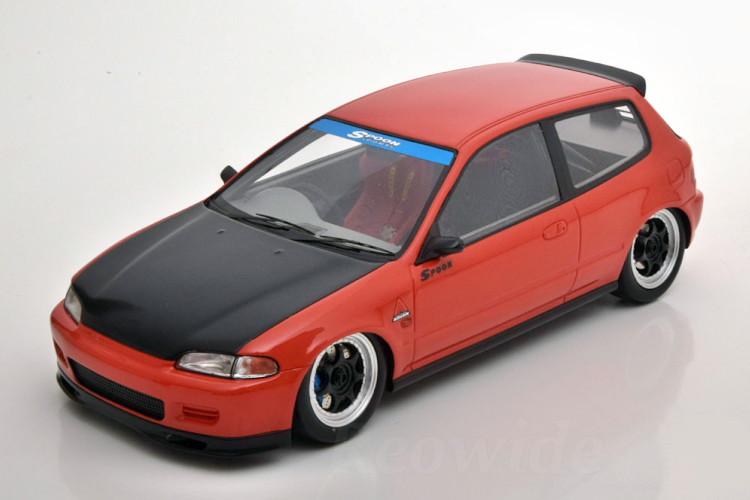 TARMAC WORKS 1/18 ホンダ スプーン シビック EG6 レッド ブラックボンネットTarmac Works 1/18 Spoon Honda Civic EG6 (Red with Black Bonnet)