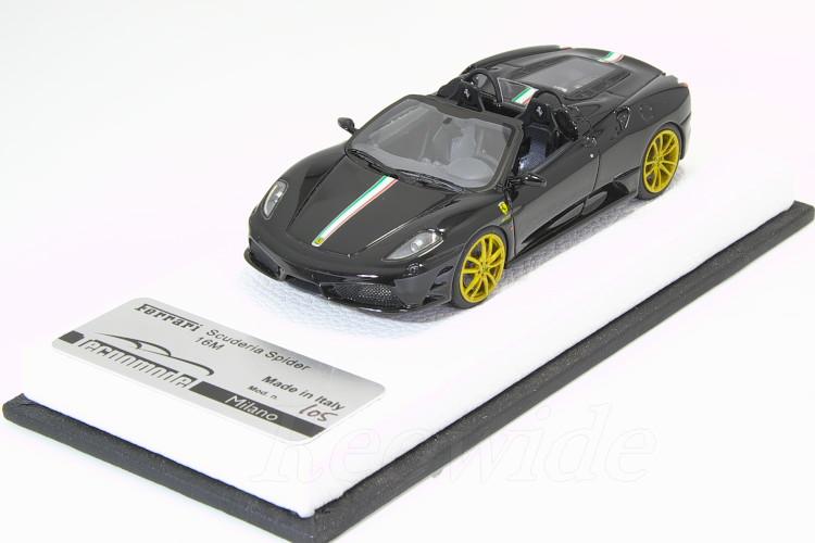 テクノモデル 1/43 フェラーリ F430 スクーデリア 16M ブラック イタリアンフラッグストライプ 5台限定 レザーベース