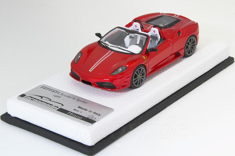 テクノモデル 1/43 フェラーリ F430 スクーデリア 16M メタリックレッド / ホワイトストライプ 20台限定 レザーベース