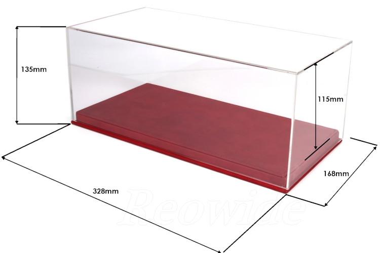 BBR 1/18用 プレキシガラス製 レッドレザーベース ディスプレイケース フェラーリ・ランボルギーニ・マセラティ