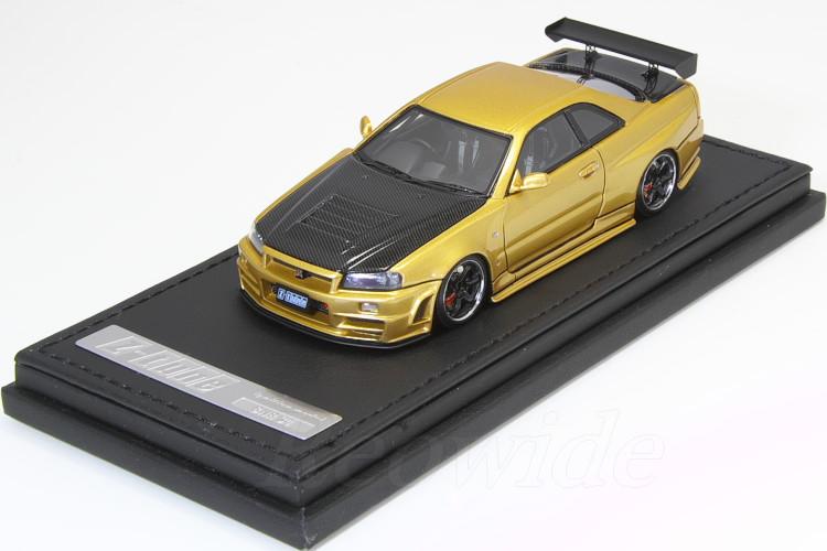 GT-R Z-tune / 日産 イグニッション 1/43 R34 カーボンボンネット ゴールド スカイライン ニスモ