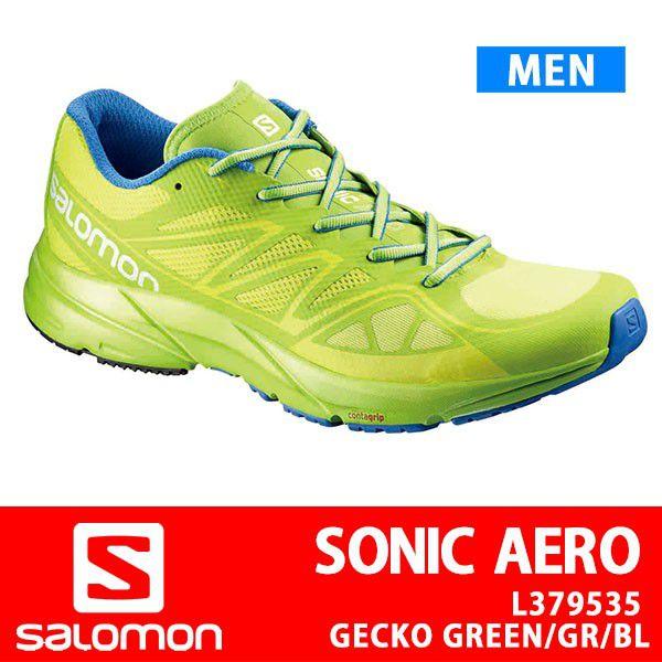 サロモン Salomon ランニングシューズ メンズ SONIC AERO ソニックエアロ L379535 GECKO GREEN/GRANNY GREEN/UNION BLUE