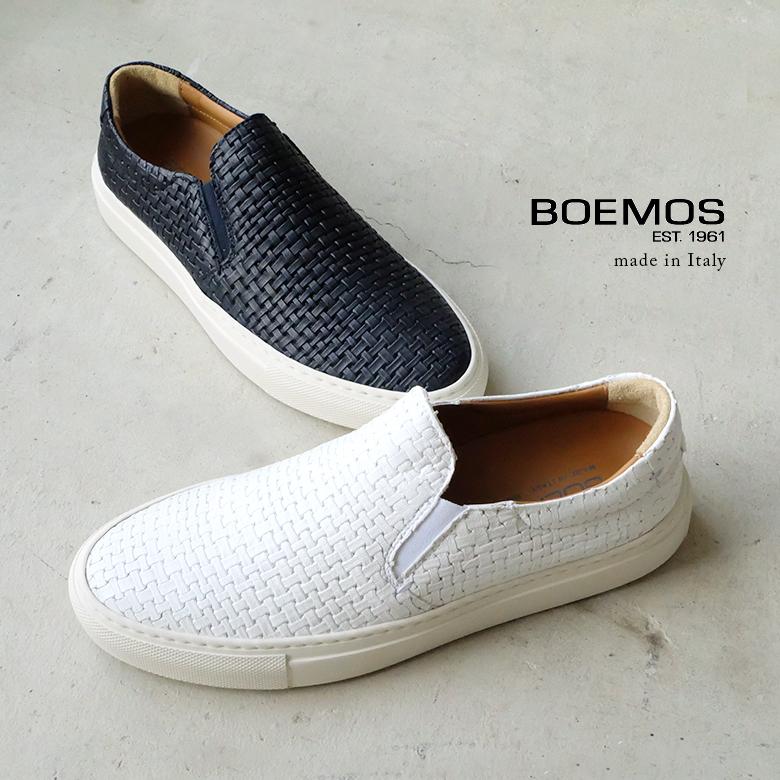 【SALE】BOEMOS ボエモス レディース メッシュスリッポン 本革 ホワイト ネイビー (boemos8994) インポートシューズ