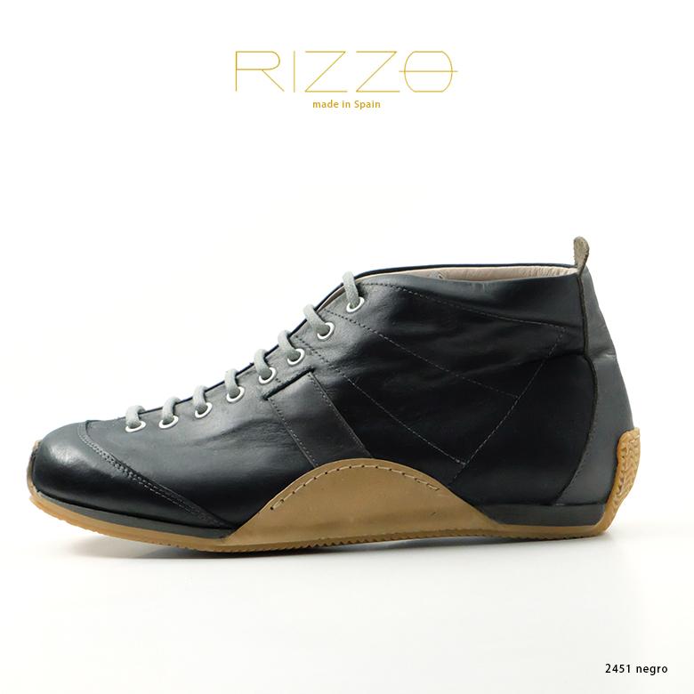 9dd1948e1134 RIZZOリゾメンズカジュアルシューズスペイン製本革スニーカー大人カジュアルブラック(rz2451-172negro