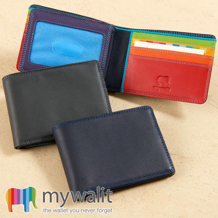 マイウォリット Mywalit ジーンズウォレット 二つ折り財布 透明窓カードケース付き ナッパレザー 天然素材 IDカードケース クレジットカードケース カラフル メンズ レディース 誕生日 プレゼント ギフト 155