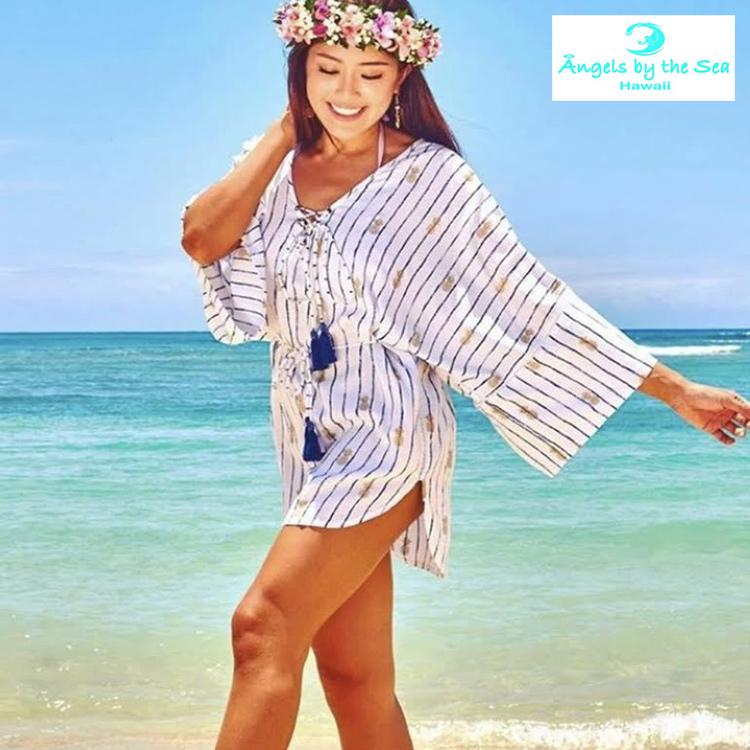 エンジェルズバイザシー Angels by the Sea Hawaii チュニック ワンピ ワンピース 水着 羽織 アウター 七分袖 旅行 夏 日焼け対策 大人 可愛い かわいい おしゃれ 海 ビーチ リゾート ハワイ アロハ パイナップル ファッション レディース