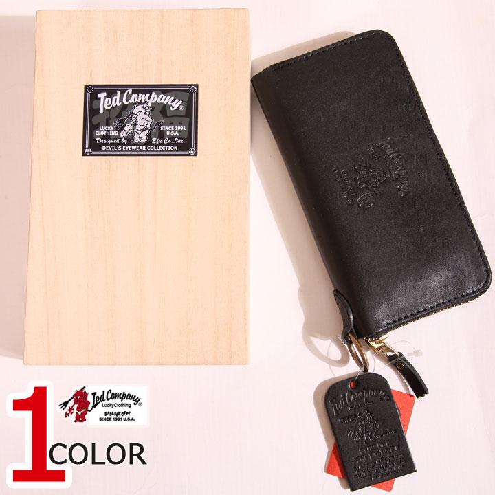 今日は5の付く日RカードでP増量★お盆期間も休まず発送!TEDMAN ラウンドジップ レザー ロング ウォレット TDW-250 ブラック 財布 刻印 エフ商会 テッドマン