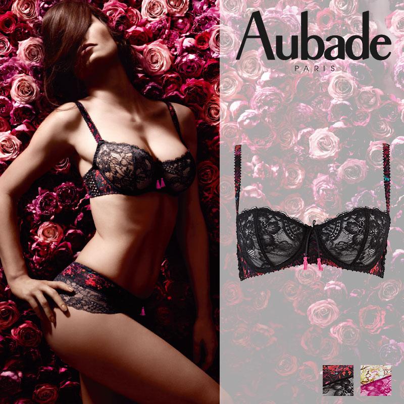 【50%オフ】特別価格!SALE!フランス【Aubade】オーバドゥIdylle Parisienne(イディルパリジェンヌ)ハーフカップブラ Gardeniaカラー(DX14)