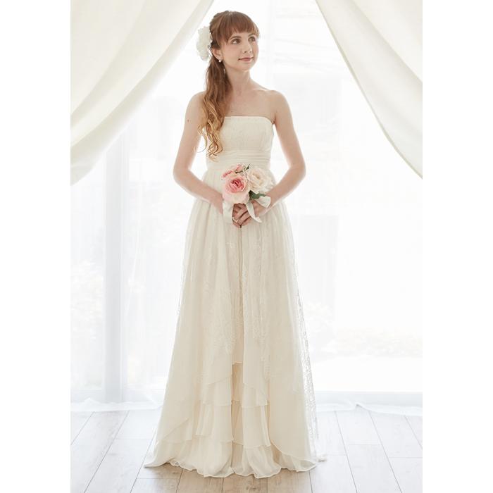 fc64416c92ce6 ウエディングドレスエンパイアエンパイアライン・パールと刺繍編み上げのシンプルエンパイアドレスウェディングドレス