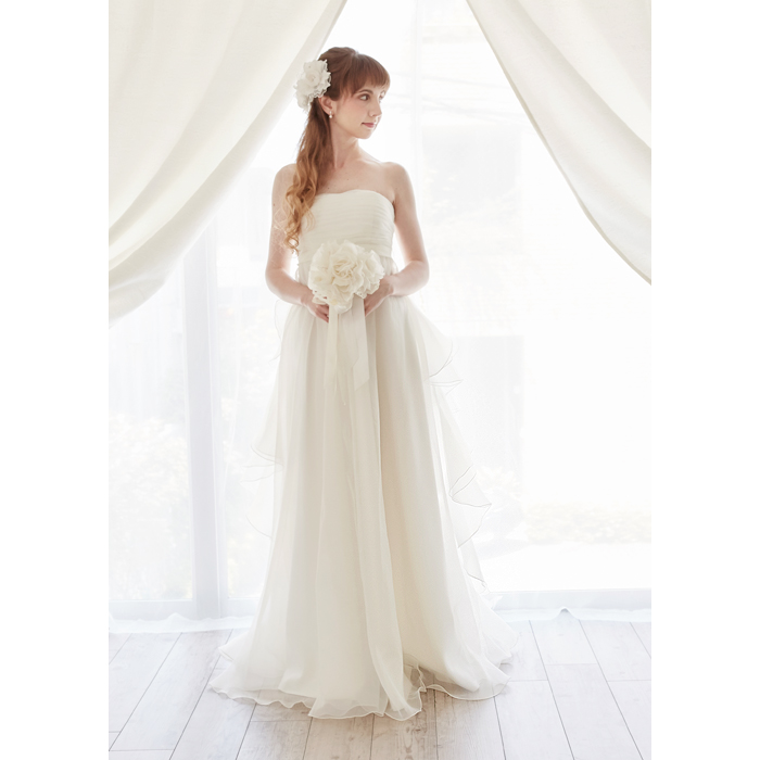 165a0196af988 ウエディングドレスエンパイアエンパイアライン・パールと刺繍編み上げのシンプルエンパイアドレスウェディングドレス