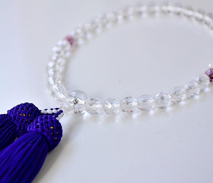 女性用略式念珠/玻璃並切子水晶7mm珠本二天紫水晶仕立て/人絹頭房 紬の念珠入れ付き