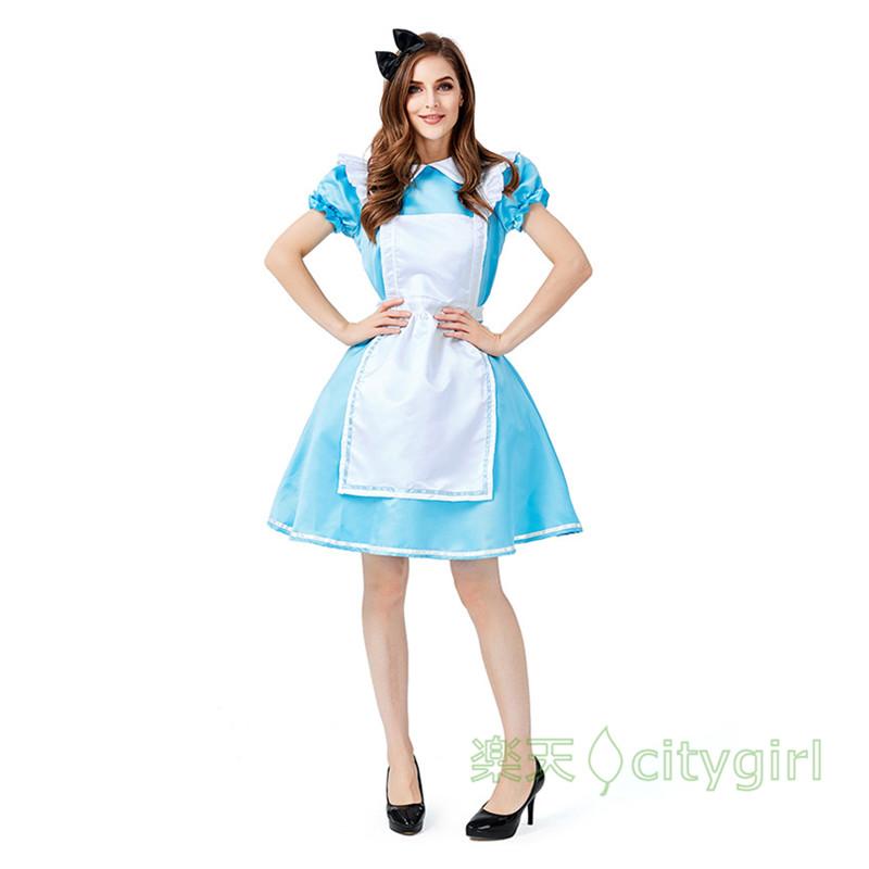 【CityGirl】ハロウィン アリス 童話テージ衣装 コスプレ衣装 大人用 舞台劇 コスチューム Halloween コスプレ 衣装 仮装 文化祭 忘年会 舞台衣装 演出服 レディース 女性用 おもしろ