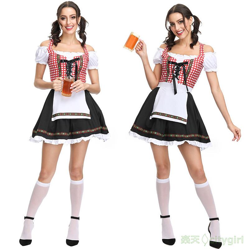 【CityGirl】ハロウィン コスプレ ビールガール ワンピース 民族衣装 欧米 cute  可愛い 舞台劇 大人用 おもしろ コスチューム 文化祭 忘年会 舞台衣装 演出服 レディース cosplay 女性用 コスプレ衣装 かわいい 仮装