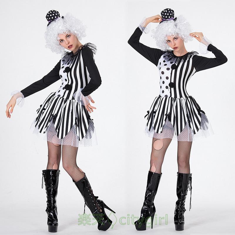 【CityGirl】ハロウィン コスプレ マジック ピエロ 魔法使い 小悪魔 キャバドレス ミニドレス セクシー コスプレ衣装 仮装 舞台衣装 モテる カーニバル 大人用 コスチューム レディース パーティー用 女性用 イベントに大人気 演出服