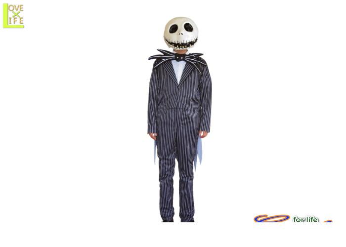 アダルト ジャック・スケリントン (ナイトメアー・ビフォア・クリスマス)【ディズニー】【Disney】【仮装】ストライプのスーツがクール♪☆AOIコレクションのコスプレ♪【コスプレ】【衣装】【コスチューム】【】【 】【大 】