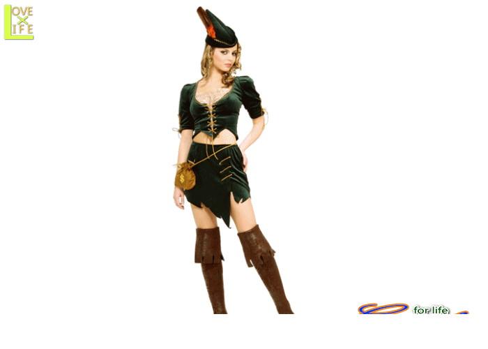 レディ 88R8254 プリンセス オブ シーブスロビンフット 狩人 仮装 ハロウィン 深いグリーンにゴールドが映える♪☆AOIコレクションのコスプレ♪コスプレ 衣装 コスチューム    大