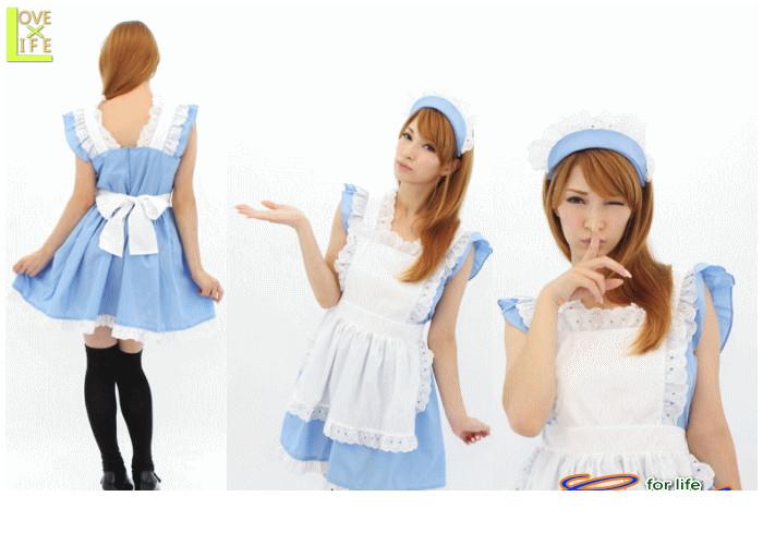 1  青空 メイドブルー エプロン メイド ウェイトレス 店員 スイートなデザイン、爽やかなカラーで注目のメイド服♪☆AOIコレクションのコスプレシリーズ♪コスプレ 衣装 コスチューム    大