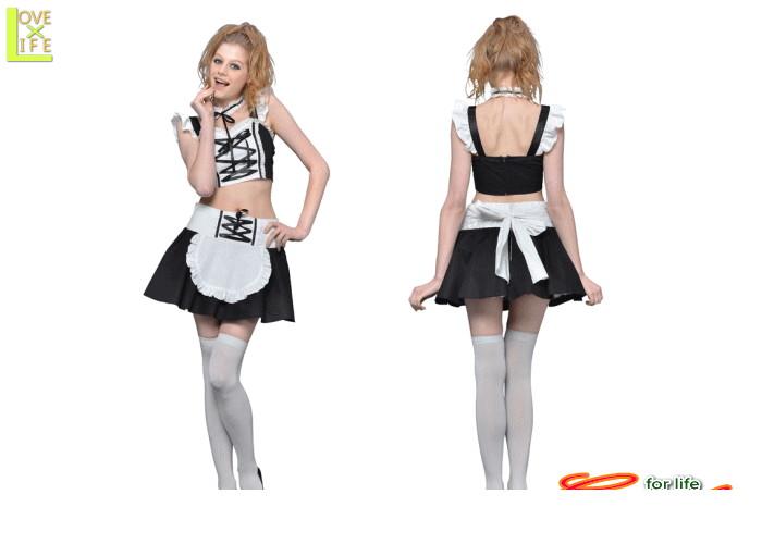 1  2ピースメイドメイド ゴシック 欧州 仮装 コスプレ おなかの見えるデザインで超セクシーなメイドコスチューム♪☆AOIコレクションのコスプレ♪コスチューム    大