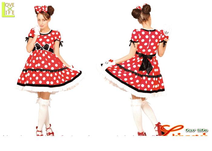 【レディ 】【95R074】ゴシック ミニーマウス レディ (Disney)【レッド】【ディズニー】 【仮装】【パーティ】今回のドレスはゴシックで気品あふれるデザイン♪☆AOIコレクションのコス♪【コスプレ】【衣装】【コスチューム】【】【 】【大 】