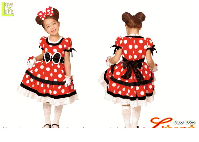 キッズ  95R075 チャイルド ミニーマウス ゴシックレッド キッズ  ディズニー Disney 仮装 パーティ ミニーちゃんの子供用コス!♪☆AOIコレクションのコス♪コスプレ 衣装 コスチューム   大